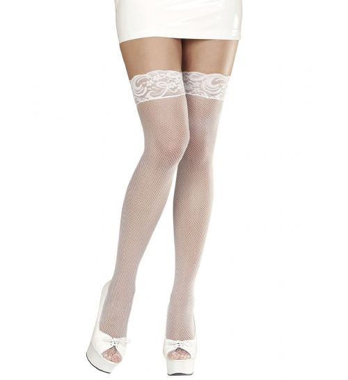 Lace Top Fishnet Thigh Highs - White Stockings Tights Pantyhose Lingerie